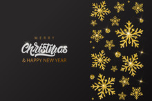 Gold Glitter Texture Snowflake On Merry Christmas Banner With Lettering Text. Background Xmas Design. New Year Lights. Poster, Greeting Cards
