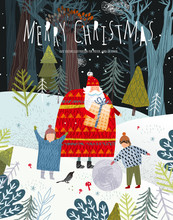 Merry Christmas And Happy New Year! Family With Santa Claus With A Gift In The Forest On The Nature Rejoice In Winter. Vector Cute Holiday Illustration For Background, Card Or Poster.