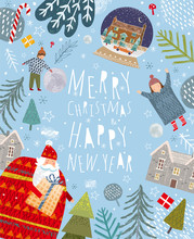 Merry Christmas And Happy New Year! Family With Santa Claus And Gift Enjoy Winter Surrounded By Christmas Trees. Vector Cute Holiday Illustration For Background, Card Or Poster.