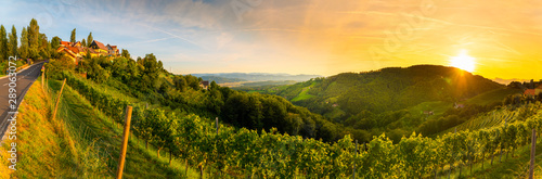 Landscape panorama of vineyard on an Austrian countryside with a church in the background in Kitzeck im Sausal