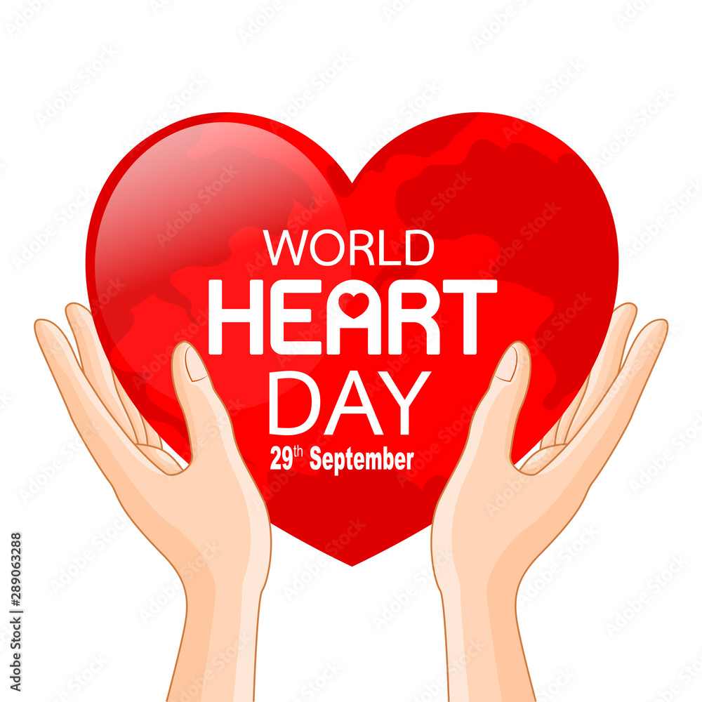 Fototapety, obrazy: Human hands with globe in heart shape. World heart day in red heart. Health care concept. Illustration isolated on white background.