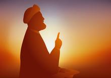Symbole De La Religion Musulmane Chiite Avec Un Ayatollah Qui Prie Et Prêche Devant Ses Fidèles En Tendant Un Doigt Vers Le Haut.