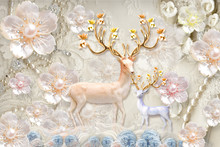 3d Mural Flowers Background Wi...