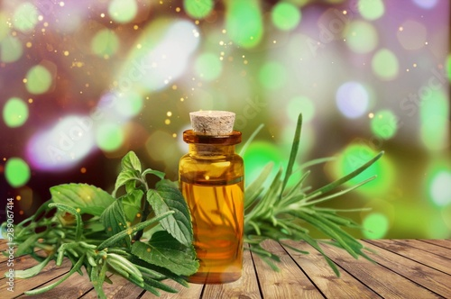 Essential Oil with Rosemary Sprig Isolated