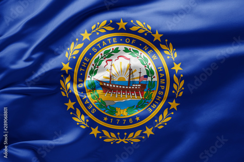 Fotografiet Waving state flag of New Hampshire - United States of America