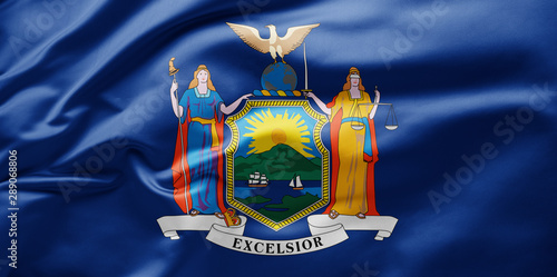 Fototapeta Waving state flag of New York - United States of America obraz