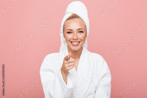Fototapeta  Arttractive young woman wearing bathrobe and towel