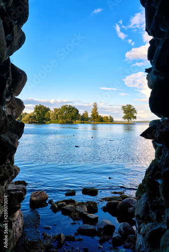 Mystic Grotto with views of Lake Schwerin. Mecklenburg-Vorpommern, Germany