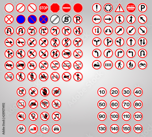 Fototapeta Set Traffic Signs,Prohibition,Warning Red circle Symbol Sign Isolate on White Background,Vector Illustration obraz na płótnie