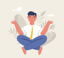 Businessman Meditation In Office. Man Doing Yoga. The Concept Of Relaxing In Lotus Position. Calm At Work, Stress Relief. Vector Illustration In Cartoon Style