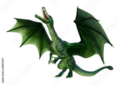 Cadres-photo bureau Dragons 3D Rendering Fairy Tale Dragon on White