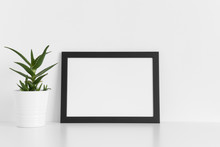 Black Frame Mockup With A Aloe...