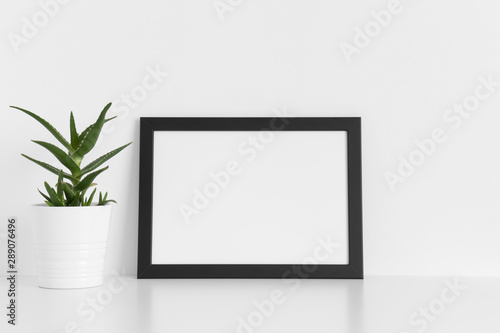 Fototapety, obrazy: Black frame mockup with a aloe vera in a pot on a white table.Landscape orientation.