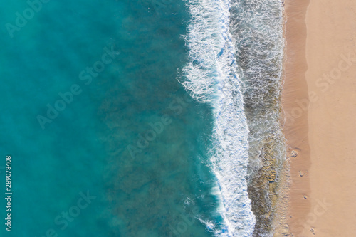 Aerial photo of beach and ocean