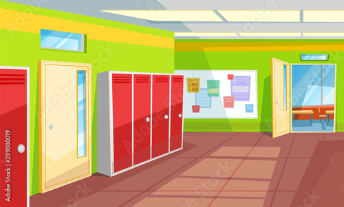 Hallway With Lockers And Tables With Info Vector Classroom With Open Doors Interior Of School Corridor And Rooms View From Inside 3d Isometric Back To School Concept Flat Cartoon Buy This