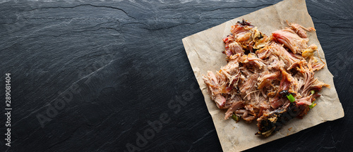 Obraz american texas bbq - smoked puilled pork in top down composition with copyspace - fototapety do salonu