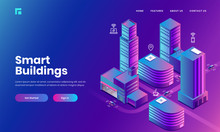 Isometric Illustration Of Skyscraper Buildings With Technology Devices Through Internet Network, Internet Of Socila Media Service App For Smart Building Concept Based Landing Page Design.