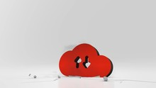 3d Rendering Heavy Impact Red Symbol Of Cloud Data Download Upload In Empty Grey Space 4k Animation