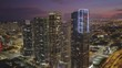 Downtown Miami luxury highrise real estate twilight aerial video