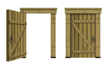 Antique Wooden Arched Door Fan...
