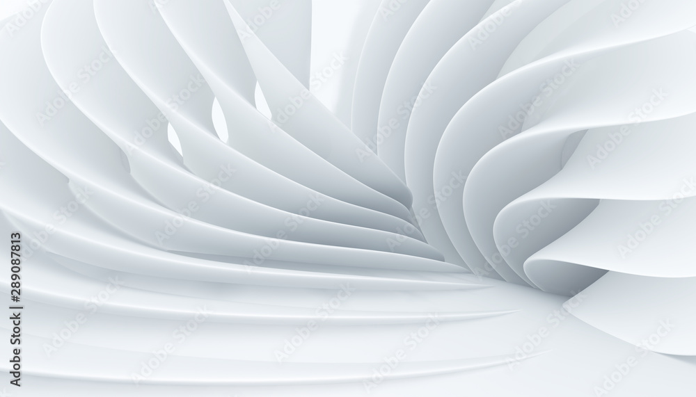 Fototapeta Abstract white interior with fantastic levels. Suitable for use as a Wallpaper in a modern interior. 3D rendering.