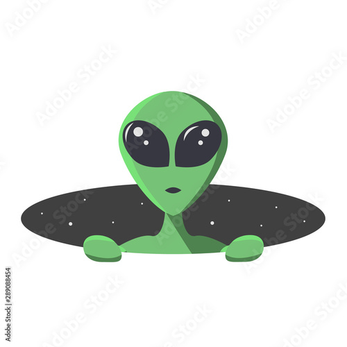 Vászonkép Green alien climbs out from the hole of space with stars