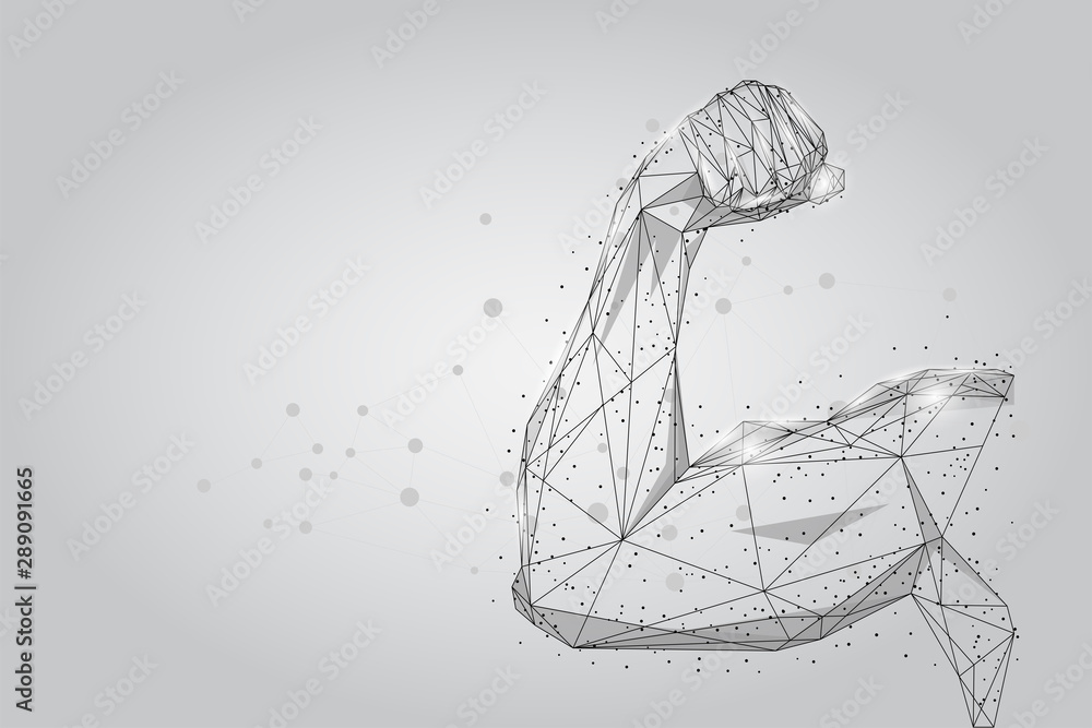 Fototapeta 3D male hand muscles connected dots low poly wireframe. Polygonal physical strength, bodybuilder, athlete body mesh art vector illustration. Human power
