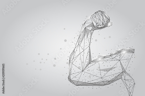 Fototapeta 3D male hand muscles connected dots low poly wireframe. Polygonal physical strength, bodybuilder, athlete body mesh art vector illustration. Human power  obraz