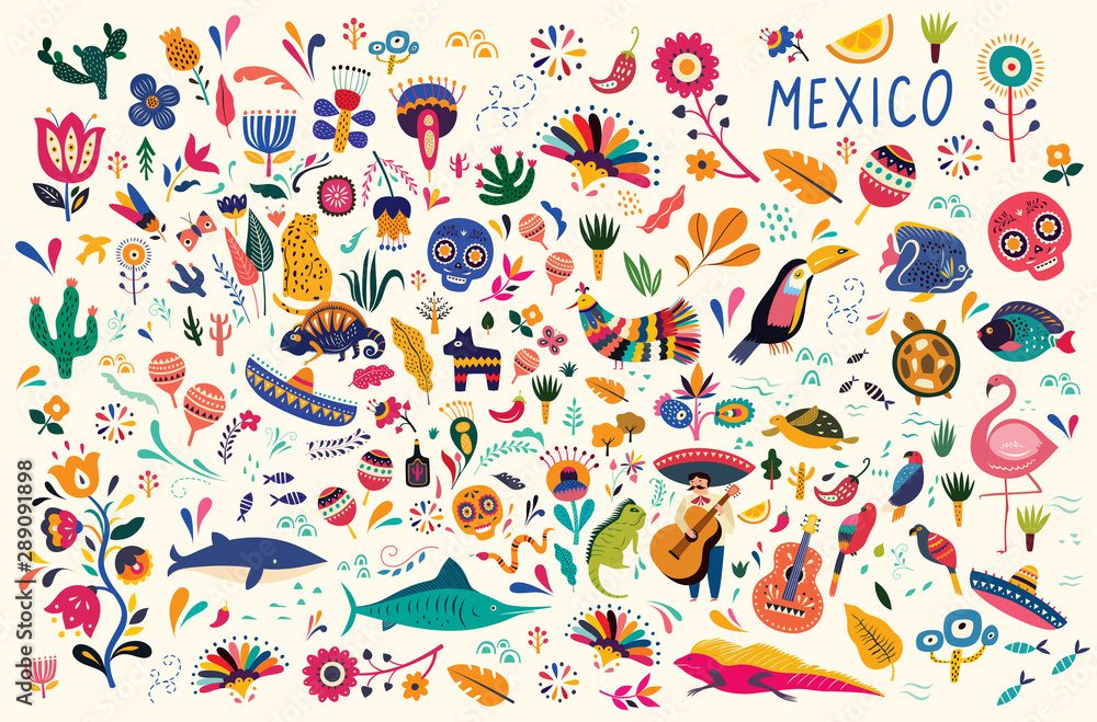 Fototapeta Mexican decorative vector pattern. Map of Mexico with traditional symbols and decorative elements.