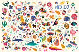 Fototapeta Child room - Mexican decorative vector pattern. Map of Mexico with traditional symbols and decorative elements.
