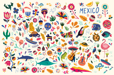 Mexican decorative vector pattern. Map of Mexico with traditional symbols and decorative elements.
