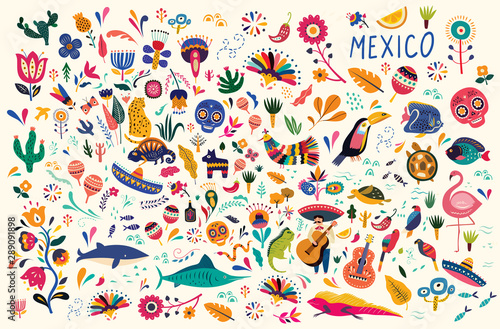 Mexican decorative vector pattern. Map of Mexico with traditional symbols and decorative elements. © moleskostudio