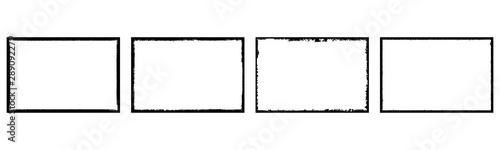 Obraz Set of grunge style frames black on white background - fototapety do salonu