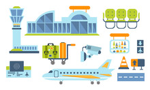 Airport Design Elements Set, Airport Terminal, Airplane, Waiting Room Vector Illustration