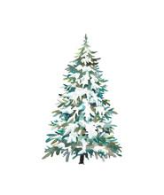 Watercolor Christmas Tree. Hol...
