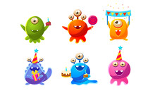 Collection Of Cute Funny Colorful Monsters Cartoon Characters, Birthday Party Design, Happy Mutants Celebrating Party Vector Illustration