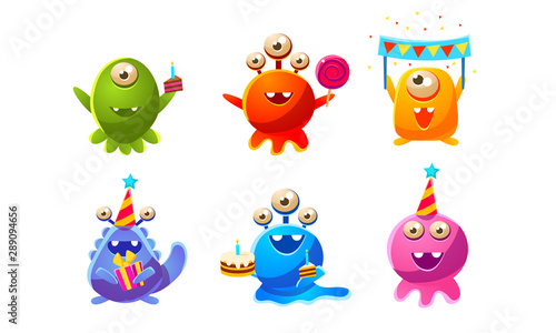 Stampa su Tela Collection of Cute Funny Colorful Monsters Cartoon Characters, Birthday Party De