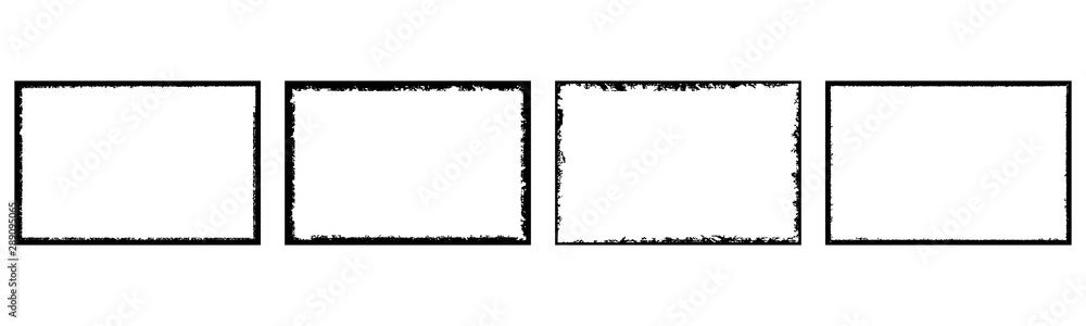 Fototapety, obrazy: Set of grunge style frames black on white background