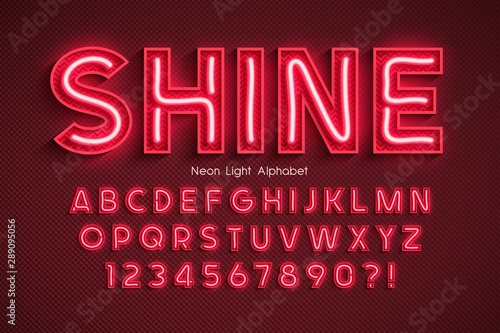 Fotomural Neon light 3d alphabet, extra glowing font.