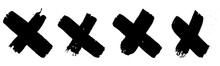 Set Of Grunge Style Crosses In...