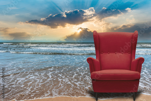 Photo  Sofa idea with natural sea Vacation tourism vip system