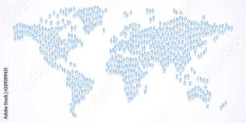 Valokuvatapetti World map, stick figures forming world population, planet earth