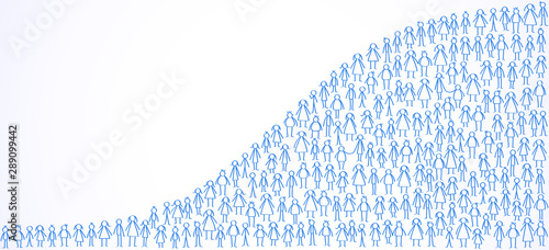 World population, stick figures forming world population statistic Fototapet