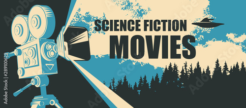 Vector poster for fiction movie festival with old-fashioned movie camera and ...