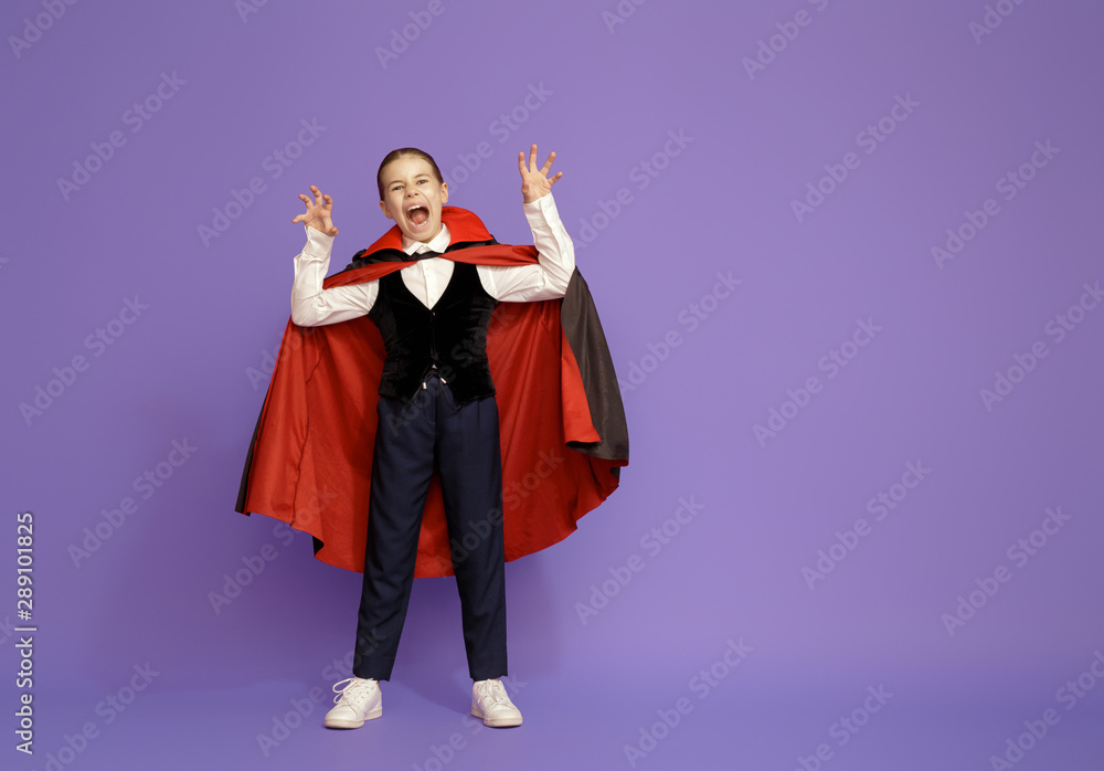 Fototapety, obrazy: little Dracula on purple background.