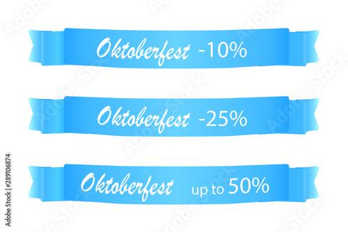 Photo  3 Oktoberfest Banderolen mit Text -10%, -25%, up to 50%