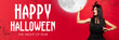 canvas print picture Young blonde woman in black hat and costume on red background. Attractive caucasian female model holding moon. Halloween, black friday, cyber monday, sales, autumn concept. Flyer for your ad.
