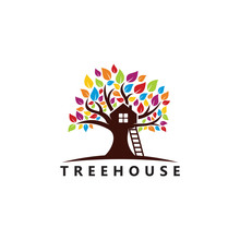 Tree House Logo Template Design