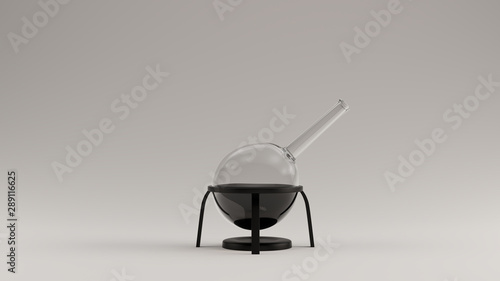 Photo Glass Lab Equipment with Black Liquids 3d Illustration 3d render