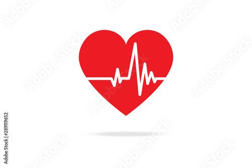 Fotomural  Cardiogram Red Heart Beat Line